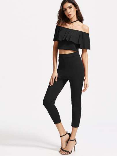 Black Off The Shoulder Ruffle Crop Top With Pants