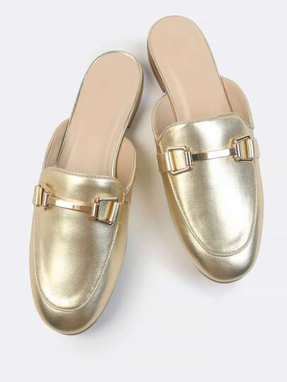 Metallic Loafer Slides GOLD