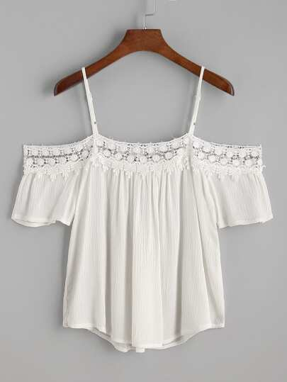 Open Shoulder Contrast Crochet Lace Trim Top