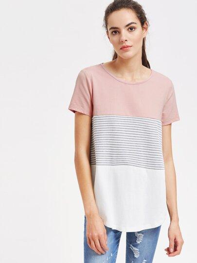camicia a strisce e bassa arrotondata