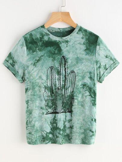 T-shirt à manches courtes imprimé vert Tie Dye