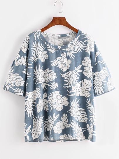 Blue Florals Drop Shoulder T-shirt