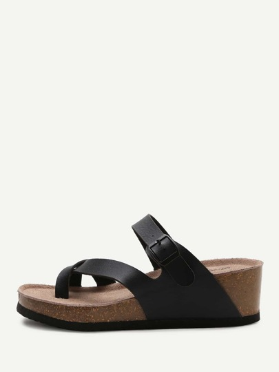 Black Toe Ring Wedge Sandals