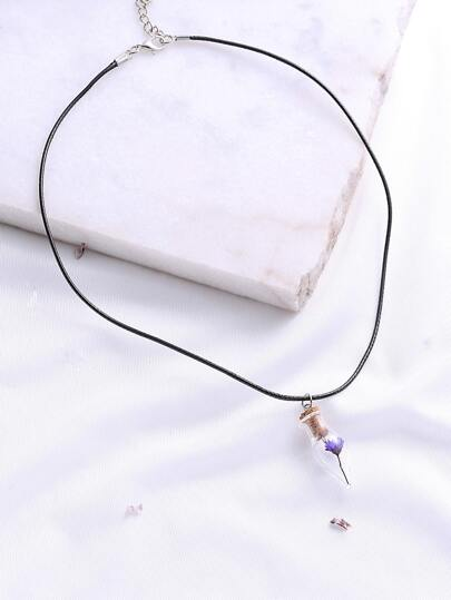 Purple Flower Pendant Necklace