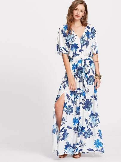 Floral Flutter Sleeve Self Tie Side Slit Kimono Dress