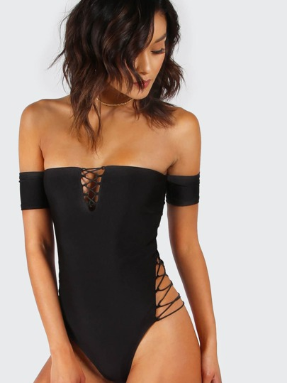 Lace Up Detail Bardot High Leg Bodysuit