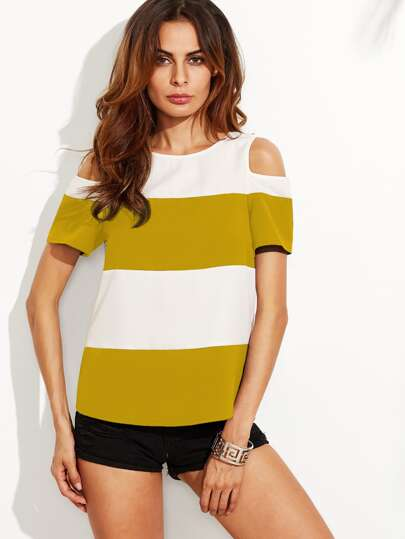 Wide Striped Open Shoulder Curved Hem Top