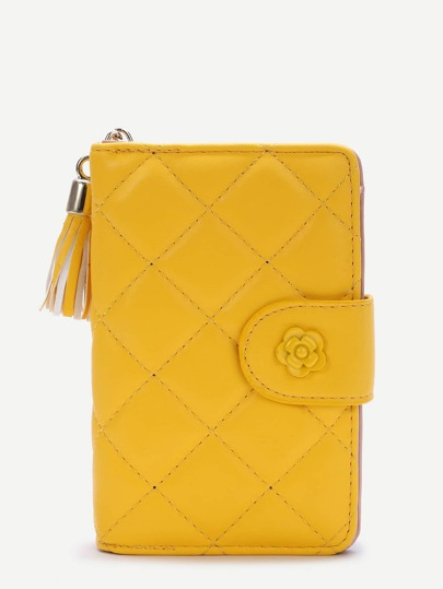 Yellow Tassel Detail Faux Leather Purse