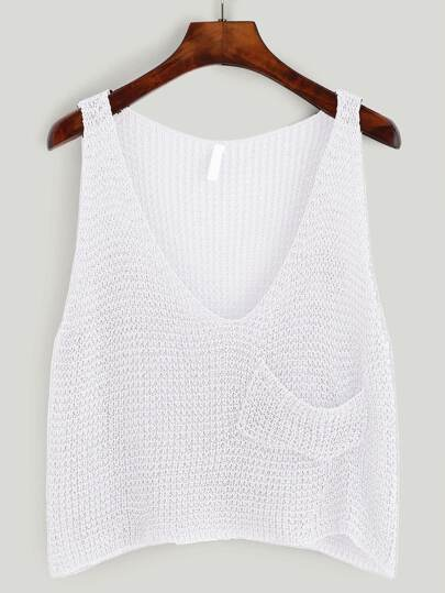 Plunging V-Neckline Crop Knit Tank Top