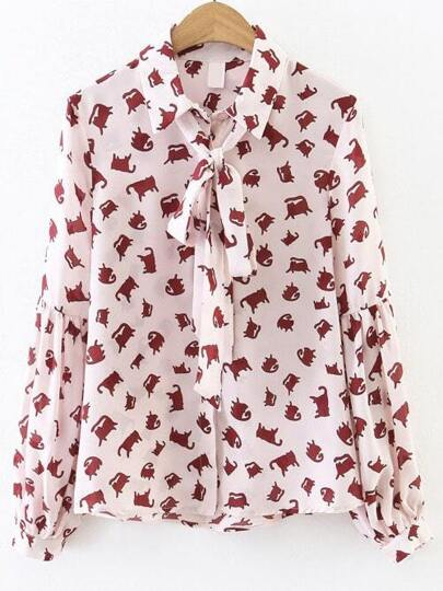 Pink Cat Print Bow Tie Drop Shoulder Seam Blouse