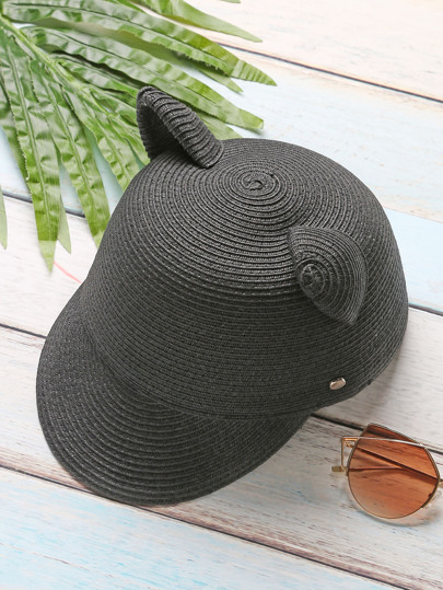Black Cat Ear Design Straw Baseball Cap