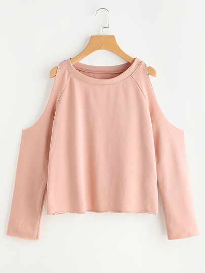 Cold Shoulder Raw Edge Crop Sweatshirt