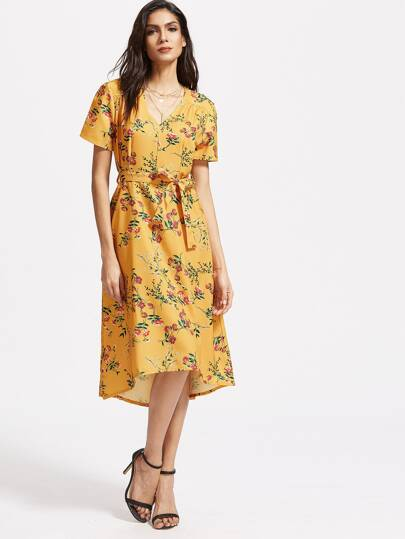 Yellow Floral V Neck Dress With Self Tie