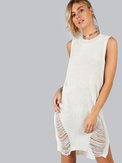 Sleeveless Frayed Knit Dress IVORY
