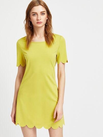 Buttoned Keyhole Back Scallop Dress