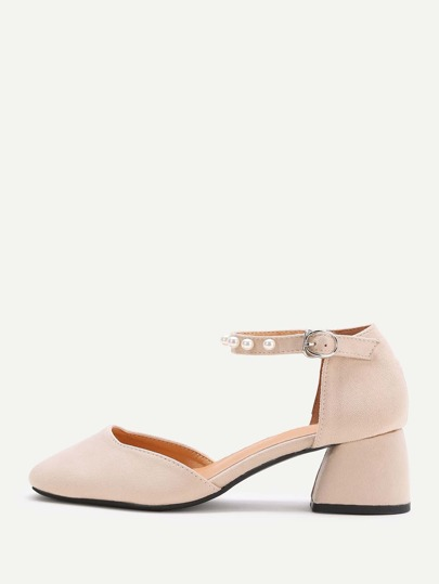 Apricot Faux Pearl Ankle Strap Chunky Heeled Shoes