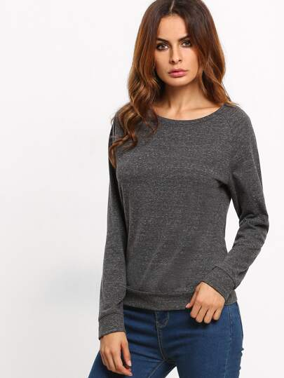 Sweat-shirt pull col rond - noir