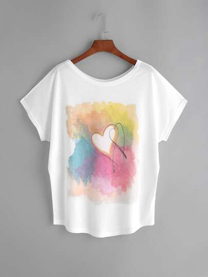 White Watercolor Painting Print Dolman Sleeve T-shirt