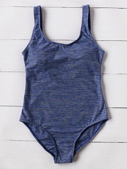Navy Scoop Neck One-Piece Swimwear