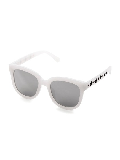 Star Detail Square Mirror Lens Sunglasses