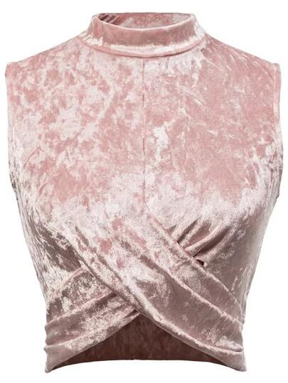 Top en velours rose sans manches