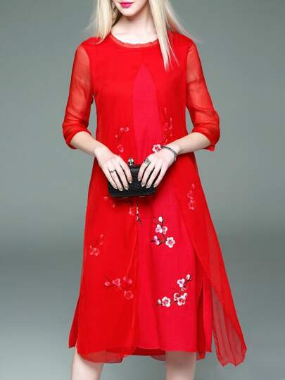 Red Flowers Embroidered Shift Sheer Dress