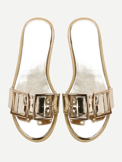 Gold Open Toe Patent Leather Flat Slippers
