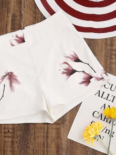 Blumendruck-Shorts mit Reißverschluss - Weiß