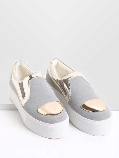 Zapatillas casual ribete en contraste - gris