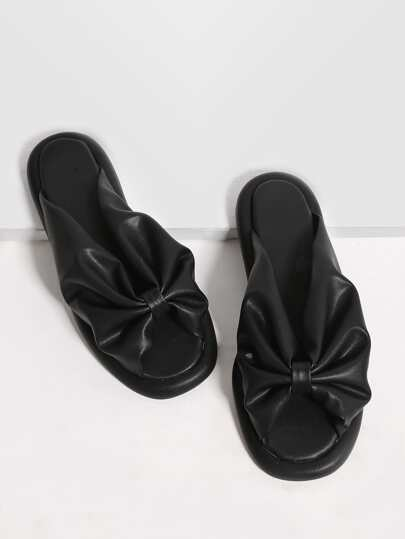 Black Ruched Peep Toe PU Flat Sandals