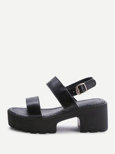 Black Strappy Platform PU Sandals