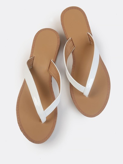Thong Demi Wedge Patent Sandals WHITE