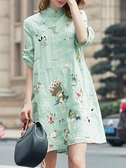 Green Birds Embroidered Shift Dress