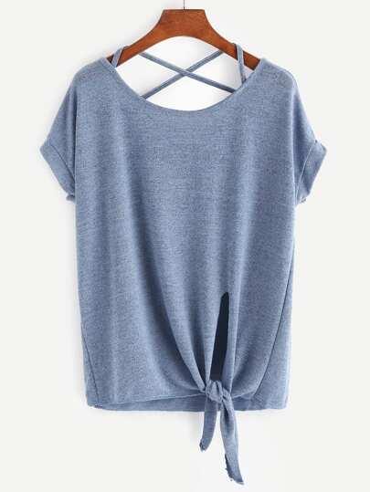 Camiseta espalda cruzada bajo con nudo - azul
