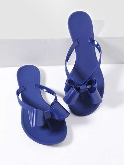 Blue Bow Embellished Toe Post Flat Sandals