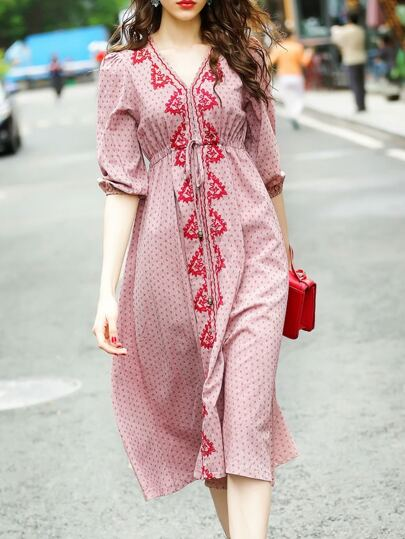 Robe rose A-line avec V col et taille élastique