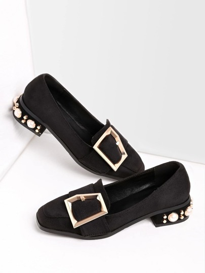 Square Toe Buckle Strap Heeled Shoes With Faux Pearl