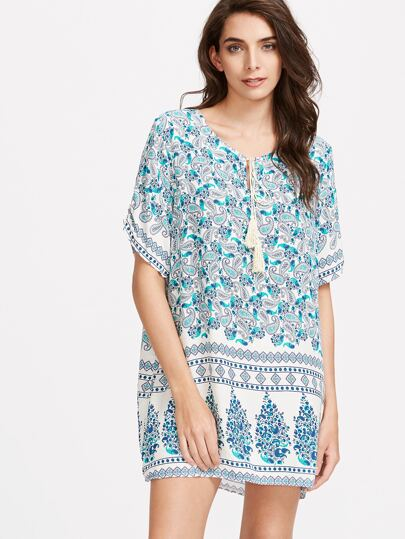 Paisley Print Tassel Tie Neck Tunic Dress