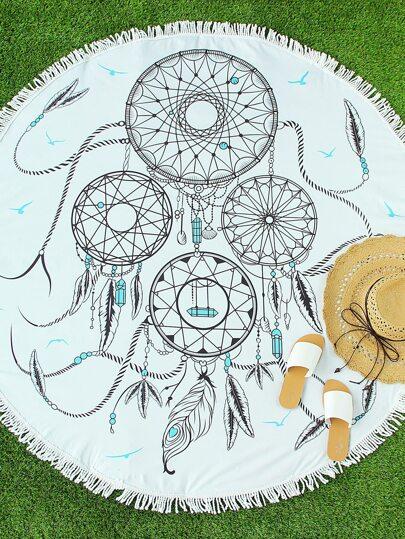 Maillot de bain de la plage imprimé des plumes blanches avec des franges