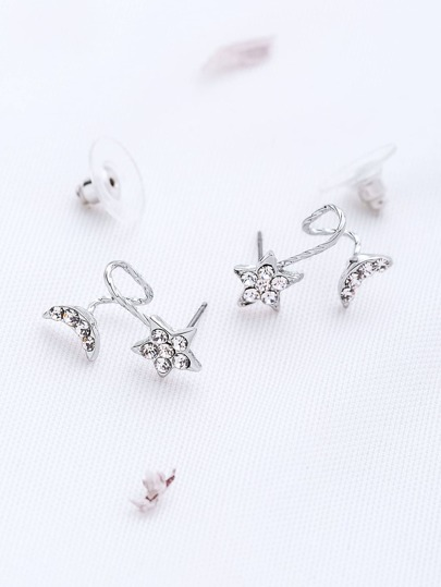 Silver Star And Moon Shaped Stud Earrings