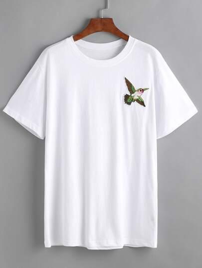 patch T-shirt design des oiseaux