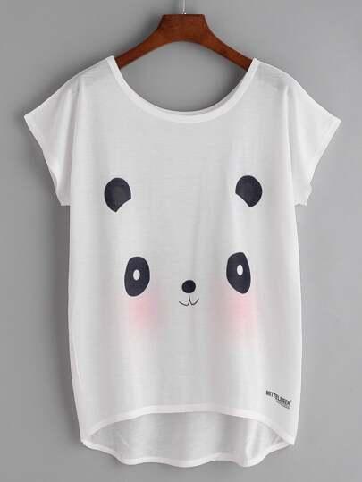 Camiseta asimétrica con estampado de panda de manga dolman - blanco