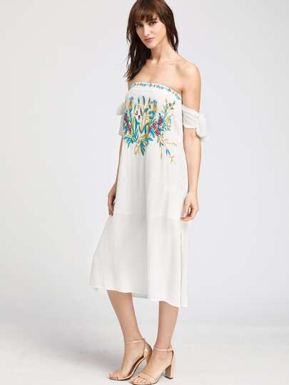 Off Shoulder Tie Sleeve Embroidered Dress