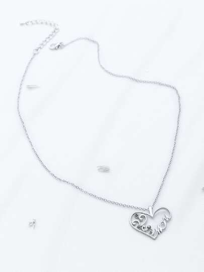Silver Heart Shaped Pendant Chain Necklace