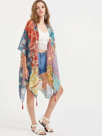 Multicolor Printed Slit Side Fringe Hem Kimono
