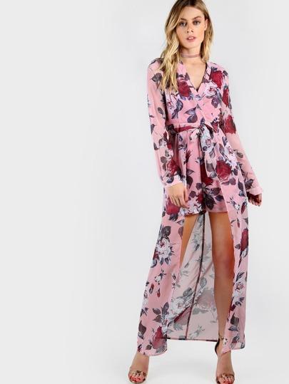 Модный макси комбинезон с запахом и цветочным принтом