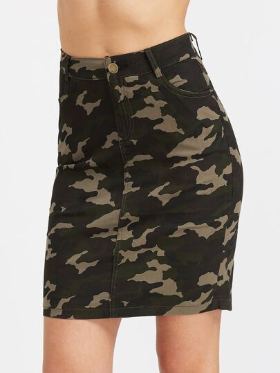 Camouflage Print Pockets Fitted Skirt