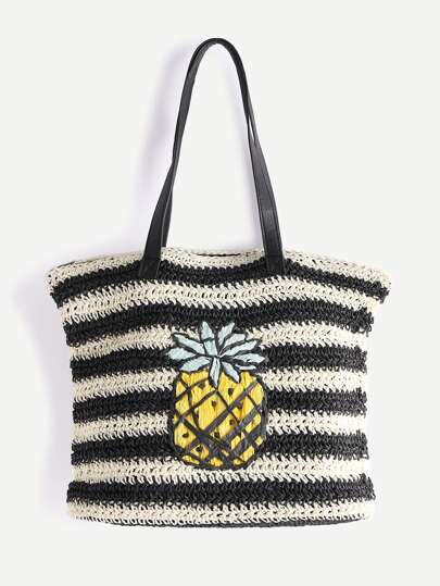 Black And White Striped Pineapple Straw Tote Bag