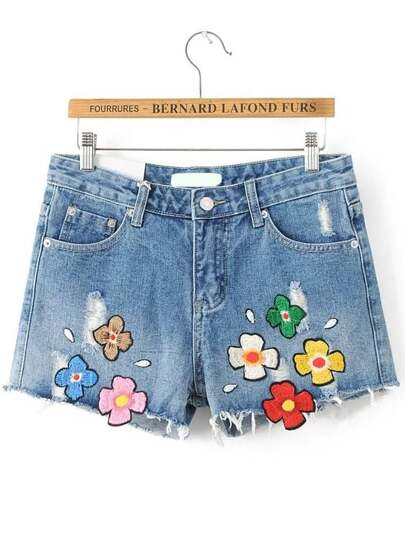 Blue Patch Embroidery Denim Shorts