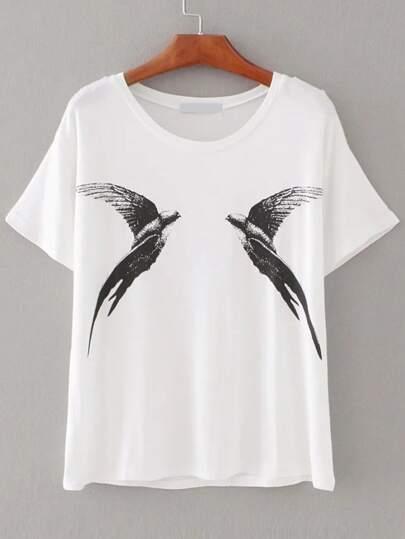 Weißes Vögel-Druck-T-Shirt